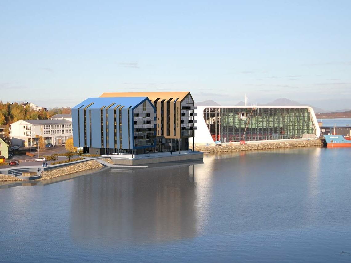 Render-bilde av det nye hotellprosjektet Elektro Bodø og Nilsson er en del av. Bilde av Arkitektene Visavis.